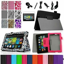 """New PU Case Cover Accessory Bundles for All-New Kindle Fire HD 7"""" 2nd Gen 2013"""