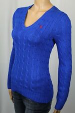 Ralph Lauren Sport Royal Blue Cable Knit V-Neck Sweater Red Pony NWT