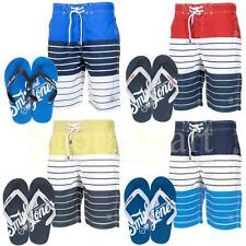 Mens Smith & Jones Striped Summer Swim Beach Surf Board Shorts Flip Flops Set