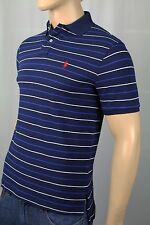 Polo Ralph Lauren Navy Blue Striped Custom Fit Mesh Shirt Red Pony NWT