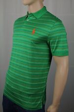 Polo Ralph Lauren Green Striped Pro Fit Big Orange Pony Pima Golf Shirt NWT