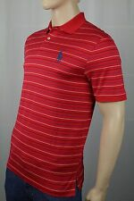 Polo Ralph Lauren Red Striped Pro Fit Big Navy Blue Pony Pima Golf Shirt NWT