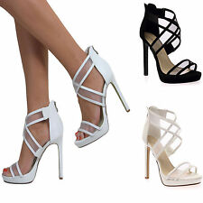 WOMENS OPEN TOE HIGH HEEL PLATFORM ANKLE CROSS STRAPPY PARTY SANDALS PROM SIZE