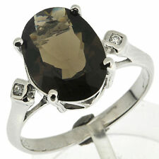 925 Silver 5.5 Ct Smoky Quartz &CZ Ring