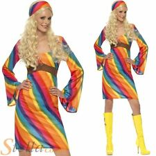 Ladies Rainbow Hippie Hippy 60s 70s Fancy Dress Costume Adult Outfit