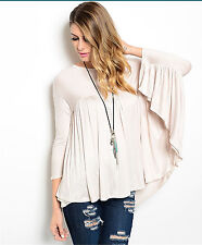 EDG SOLID SAND BEIGE RAYON VISCOSE CASUAL DRAPE BATWING SLEEVE BLOUSE S M L NEW
