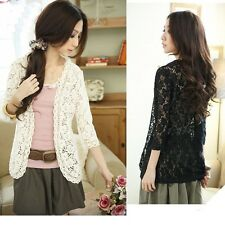 Fashion Sexy Women Casual Lace Crochet Floral Blouse Top  Jacket Coat Cardigan