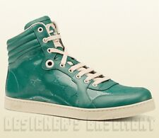 GUCCI Mens* teal CODA GG shiny IMPRIME Leather High Top Sneakers NIB Authen $560