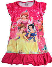 Snow White Belle Ariel Girls Children Kids Pyjama Nightwear Dress 3-10Y Hot Pink