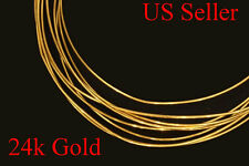 "24k solid yellow round gold wire 1"" -  6"" -  gauge  22  gauges USA Seller"