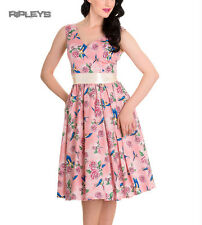 HELL BUNNY Summer 50s Dress LACEY Birds/Roses Dusty Pink All Sizes