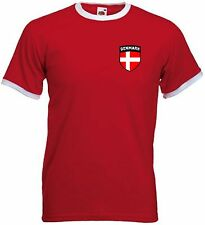 Denmark Dane Danish Soccer Football Shield Crest T-Shirt Jersey - All Sizes