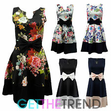 Womens Sleeveless Floral Flower Print Bow Pleat Contrast Hem Ladies Skater Dress