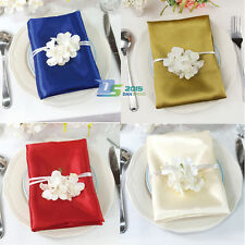 Satin Solid Square Dinner Napkin Handkerchief Wedding Party Pocket Hanky 51cm