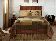 4PC STRATTON RUSTIC PRIMITIVE STAR TAN OLIVE QUILT PILLOW CASES BED SET VHC