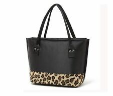 Women Large Totes Hobo Shoulder Bags Purse Handbag Shopping Black Leopard Bag