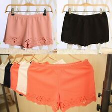 Women Comfort Lace Hollow Pattern Hot Pants Girls Elasticity Waist Casual Shorts