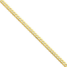 14K Yellow Gold 5.75mm Flat Beveled Curb Solid Link Bracelet 7 - 9""