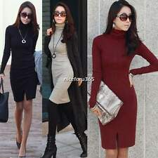 Women Spring Winter Bodycon Long Sleeve High Collar Knit Bottoming Dress M-XL