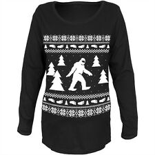 Sasquatch Ugly Christmas Sweater Black Womens Soft Maternity Long Sleeve T-Shirt