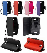 For Alcatel One Touch Fierce 2 7040T Leather Wallet Case Cover w/ Holder Strap