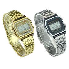 Vintage Womens Men Stainless Steel Digital Alarm Stopwatch Wrist Watch Trendy
