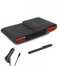 For Kyocera Black Faux Leather Vertical Pouch Belt Clip Stylus Pen Car Charger