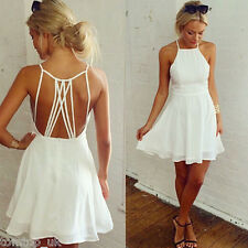 NEW Women Sleeveless Bandage Backless Strappy Dress Mini Chiffon Party Cocktail