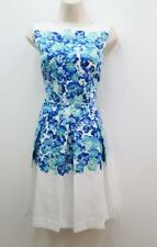 Tahari Blue and White DANIELLE Floral Textured Cocktail Career Work Dress NEW