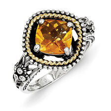 Citrine Antiqued Ring .925 Sterling Silver & 14K Accent Size 6 - 8 Shey Couture