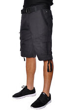 Mens Summer Casual Basic Marc Ecko Unlimited Cotton Belted Ripstop Cargo Shorts