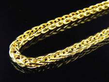 Mens Bonded 1/20th 10K Yellow Gold 5.5 MM Wheat Franco Chain Necklace 30-38 Ins