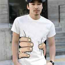 Men's 3D Finger Printed Short Sleeve Casual T-shirts Tops Funny Base Tee 3Colors
