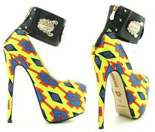 Red Kiss Yellow Tribal Ankle cuff Platform Pump Stiletto Heels Women's shoes