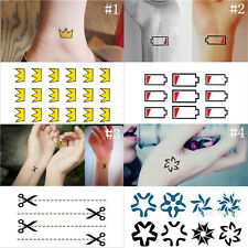 Waterproof Unique Battery Crown Scissor Flower Tattoo Stickers Body Art Decal