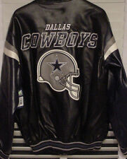 NWT Dallas Cowboys Faux Leather Logo Jacket Coat Black Navy Blue Gray MEN Sz M