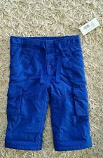 NWT Old Navy Infant Boys 0-3 & 6-12 MONTH Fleece Lined Cargo Pants BLUE Gray NEW