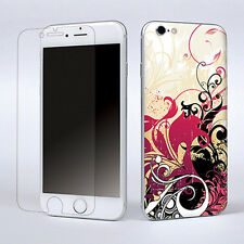 """Red Flower Skin Sticker Cover Decal For Apple iPhone 6 4.7"""" W/Screen Protector"""