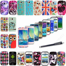 New Printed Silicone Back Fits Skin Case Cover For Various Samsung Models+Stylus
