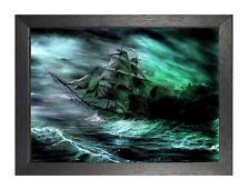 Ghost Ship In Rough Sea Horror Dark New Poster A3 A4