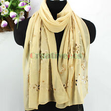 Fashion Women Girl's Delicate Embroidery Hollow Out Flower With Beads Long Scarf