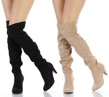 Qupid Black Taupe Thigh High Suede Boots Chunky Low Heel Women's Shoes