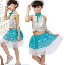 Sequins girls Dance Costumes Modern Dancewear Top& dress Kids TOP Jazz Hip Hop