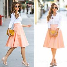 Vintage Women Ladies Retro High Waist Flared Full A Line Party Midi Skirt Dress
