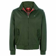 MERC HARRINGTON JACKET MENS FOREST GREEN RETRO MOD TOP WITH TARTAN LINING