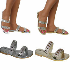 Ladies Glitter Flip Flop Flats Sandal Slides Slip On Jewel Rhinestone Shoes Size