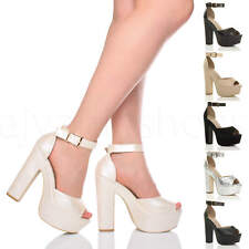 WOMENS LADIES HIGH HEEL PLATFORM ANKLE STRAP PEEP TOE SHOES PARTY SANDALS SIZE