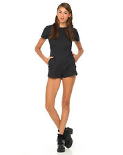 MOTEL ROCKS Amy Cut Out Backless Playsuit in Black  (mr34)