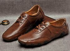 New fashion mens leather soft casual moccasins driving loafer shoes black brown