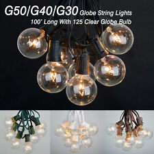 100 Foot Outdoor Globe Patio String Lights - Set of 125 G50/G40/G30 Clear Bulbs